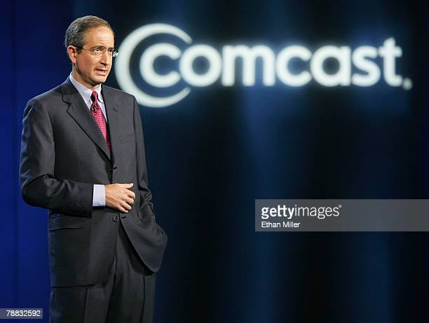 Comcast Corp Chairman and CEO Brian L Roberts delivers a keynote address at the 2008 International Consumer Electronics Show at the Venetian January...