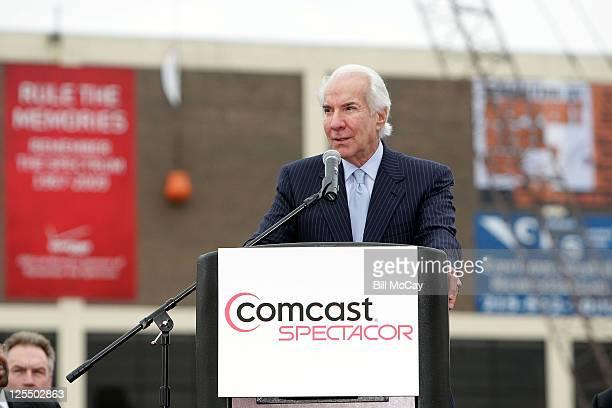 ComcastSpectacor Chairman Ed Snider speaks to the fans during The Spectrum's 'Final Shot' Wrecking Ball Event November 23 2010 in Philadelphia...