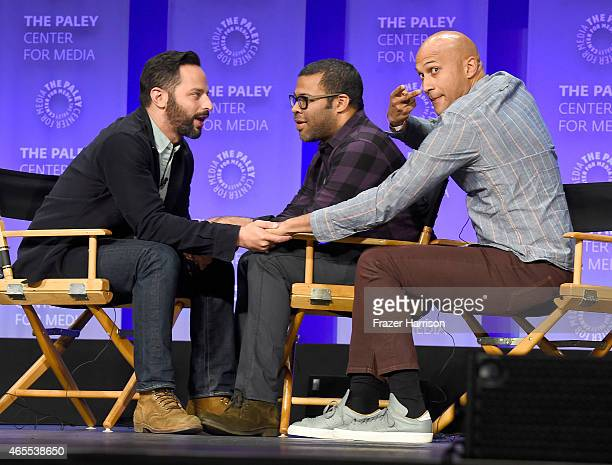 Comdeians Nick Kroll Jordan Peele KeeganMichael Key on stage at The Paley Center For Media's 32nd Annual PALEYFEST LA A Salute To Comedy Central at...