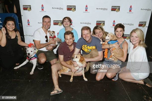 'Come From Away' cast attend Broadway Barks Announces Mary Tyler Moore Award at Shubert Alley on July 8 2017 in New York City