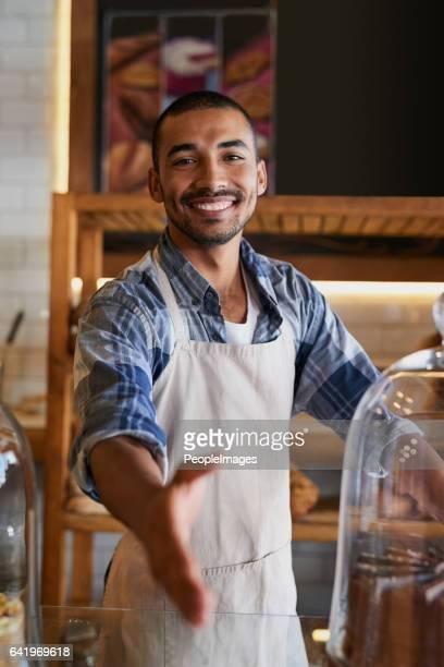 Kom binnen voor service met een glimlach
