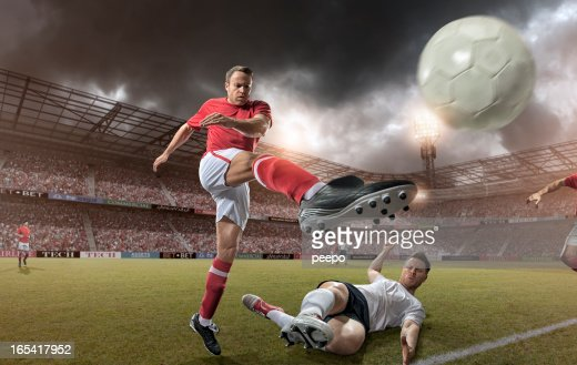 Come Up Soccer Player Kicking Football