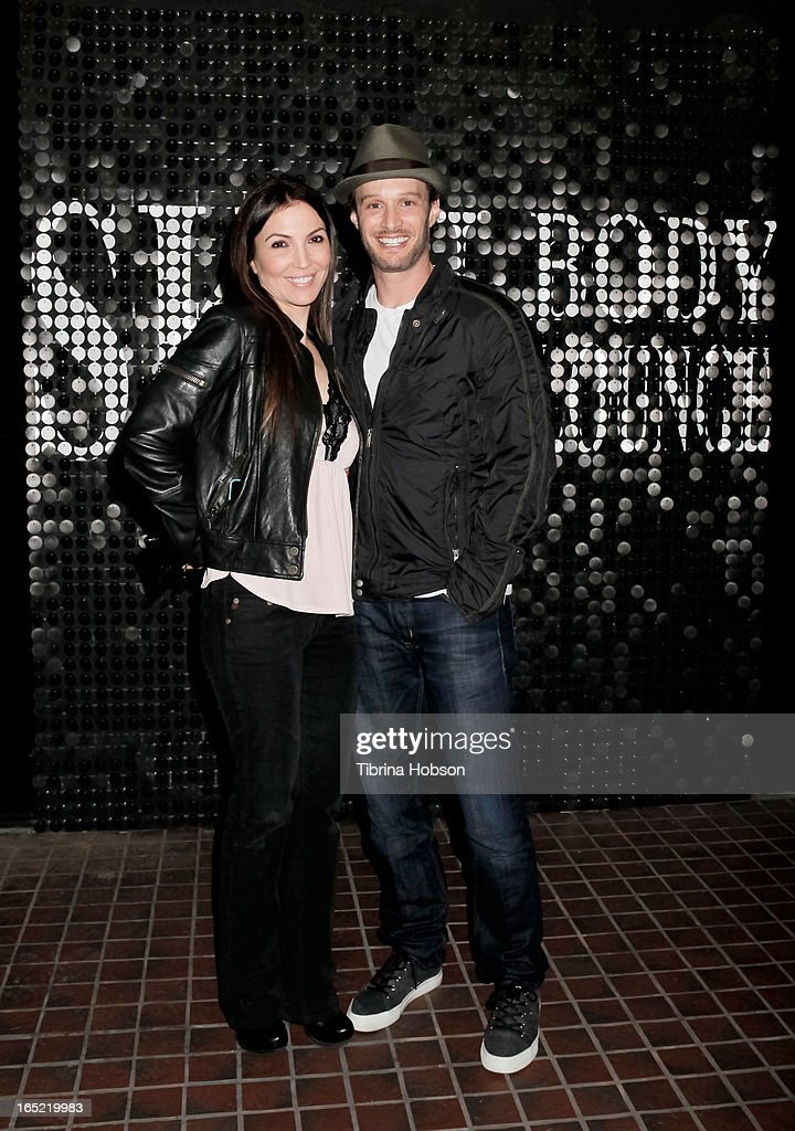 Comedian, actor, and writer Josh Wolf (R) with wife Bethany Wolf attend his book signing for 'It Takes Balls' at Skin Body Lounge on April 1, 2013 in Studio City, California.