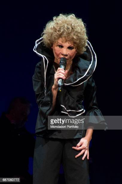 Comedian actress impersonator and presenter Virginia Raffaele impersonating the singer Ornella Vanoni during the theatrical representation...