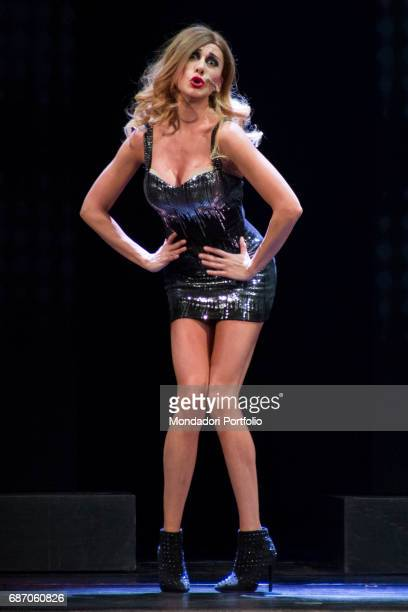 Comedian actress impersonator and presenter Virginia Raffaele impersonating the showgirl Belen Rodriguez during the theatrical representation...