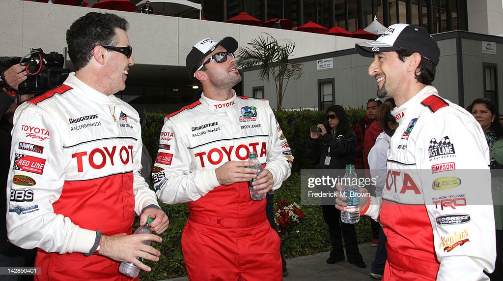 Comedian Adam Carolla, and actors Brody Jenner and Adrien Brody attend the 36th Annual Toyota Pro/Celebrity Race Qualifying Day of the Toyota Grand Prix of Long Beach on April 13, 2012 in Long Beach, California.