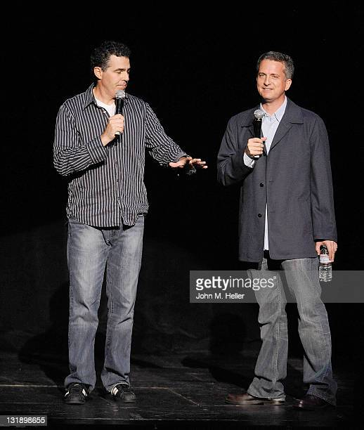 Comedian Adam Carolla and writer Bill Simmons celebrate the release of Adam Carolla's new paperback book 'In Fifty Years We'll All Be Chicks' on May...
