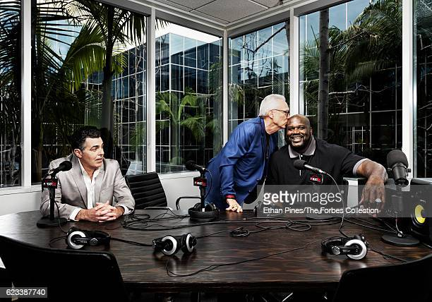 Comedian Adam Carolla founder/chairman of Courtside Entertainment Group Norm Pattiz and basketball player Shaquille ONeal are photographed for Forbes...