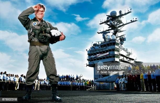 Comedian Al Franken is photographed spoofing President Bush's appearance aboard the USS Abraham Lincoln for Newsweek Magazine in 2004 PUBLISHED IMAGE