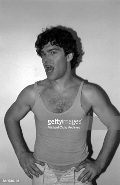 Comedian Al Franken poses for a portrait session backstage dressed as Mick Jagger at a performance with Tom Davis of the comedy group 'Franken and...