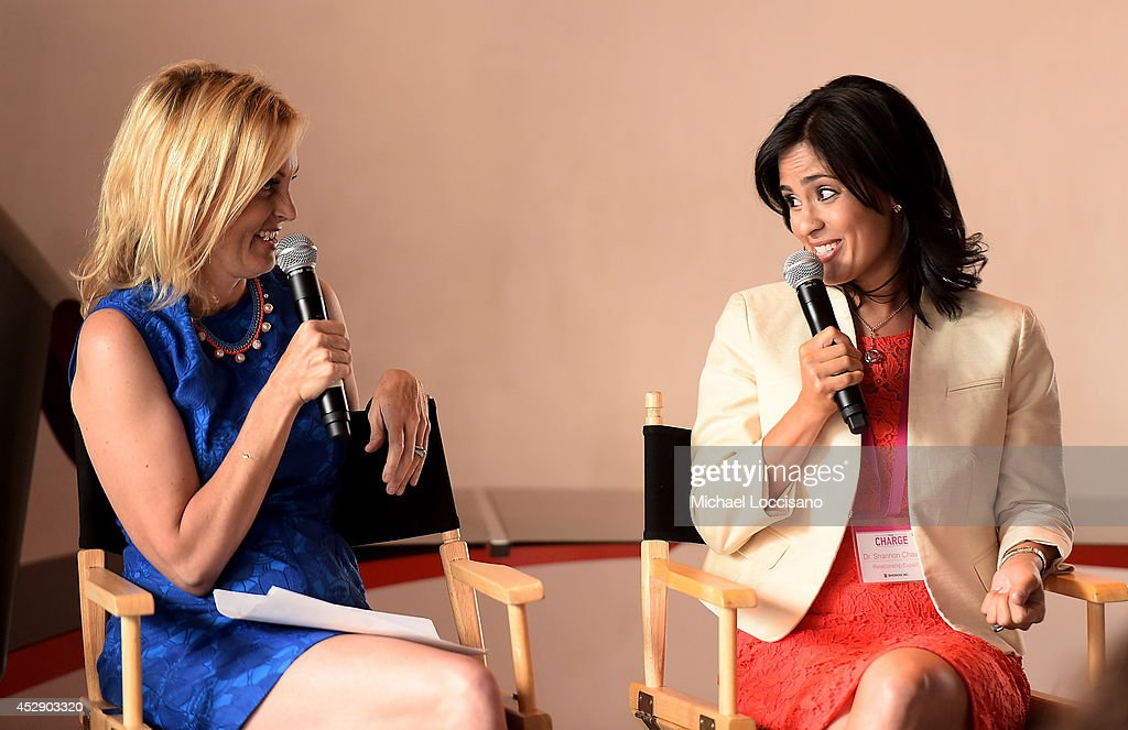 Comedian Ali Wentworth (L) and Dr. Shannon Chavez speak onstage at Comedian Ali Wentworth Teams Up with Shionogi Inc. to Launch 'Women Take Charge' Campaign at Robert Restaurant on July 29, 2014 in New York City.