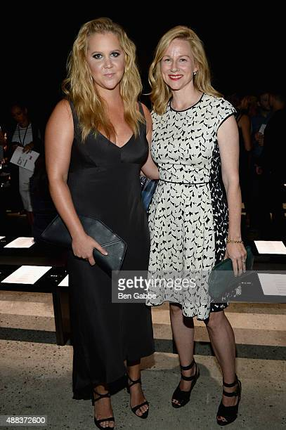 Comedian Amy Schumer and actress Laura Linney attend the Narciso Rodriguez Spring 2016 fashion show during New York Fashion Week at SIR Stage 37 on...