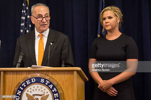 Comedian Amy Schumer and US Senator Chuck Schumer speak at a press conference calling for tighter gun laws in an effort to stop mass shootings and...