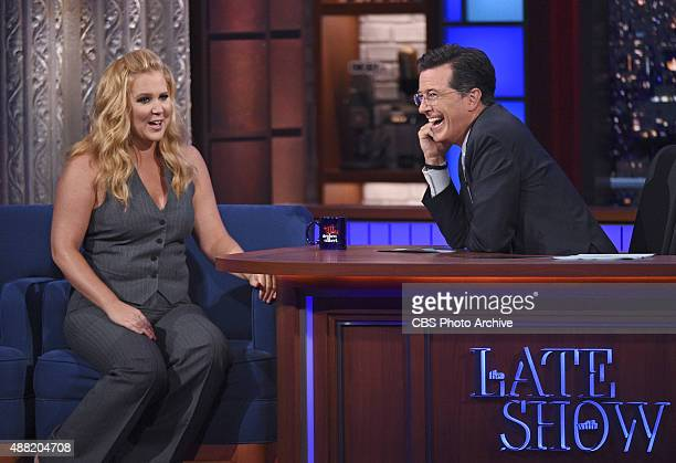 Comedian Amy Schumer on the Late Show with Stephen Colbert Friday Sept 11 2015 on the CBS Television Network
