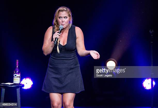 Comedian Amy Schumer performs during the Oddball Comedy And Curiosity Festival at DTE Energy Music Theater on August 30 2015 in Clarkston Michigan