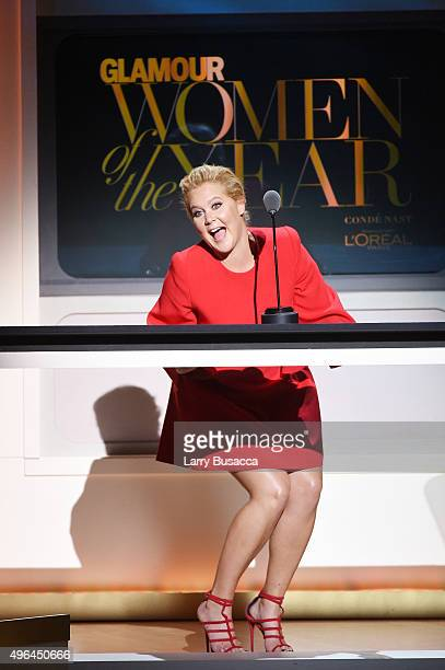 Comedian Amy Schumer speaks onstage at the 2015 Glamour Women of the Year Awards on November 9 2015 in New York City
