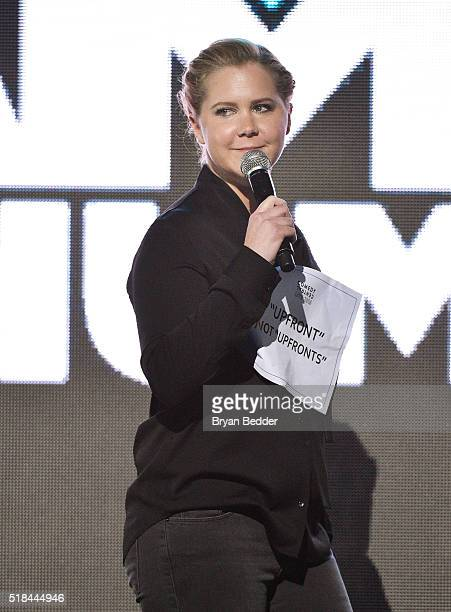 Comedian Amy Schumer speaks onstage during the Comedy Central Live 2016 upfront at Town Hall on March 31 2016 in New York City