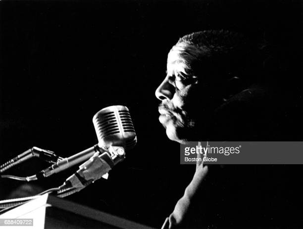 Comedian and activist Dick Gregory speaks at a rally in preparation for a Boston Freedom StayOut boycott at the Donnelly Memorial Theater in Boston...