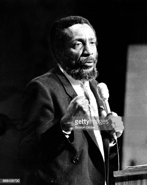Comedian and activist Dick Gregory speaks to students at LincolnSudbury Regional High School in Sudbury MA on Apr 15 1981