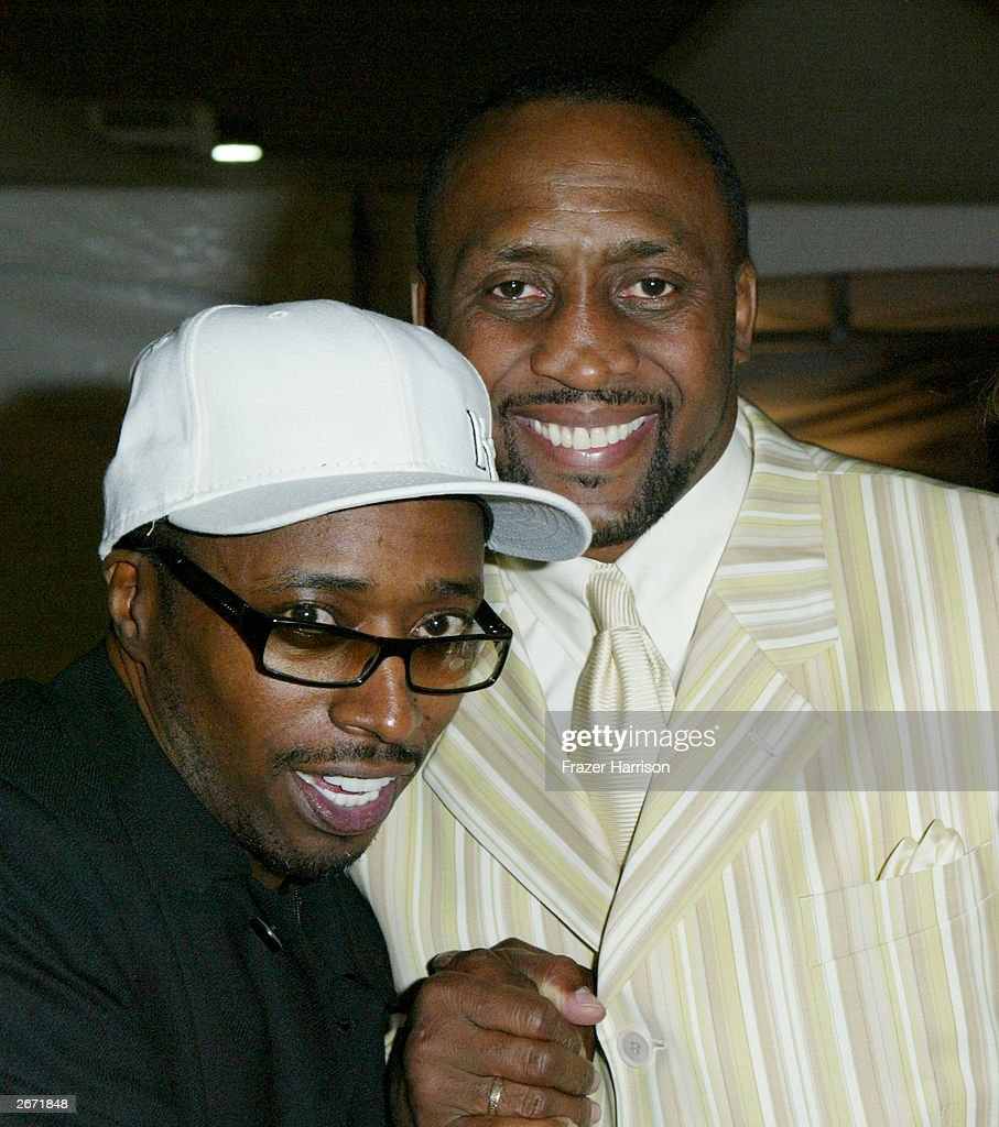 Comedian and actor Eddie Griffin and former boxing champion, Thomas 'The Hit Man' Hearns poses backstage at the 2003 Radio Music Awards at the Aladdin Hotel and Casino, October 27, 2003 in Las Vegas, Nevada.
