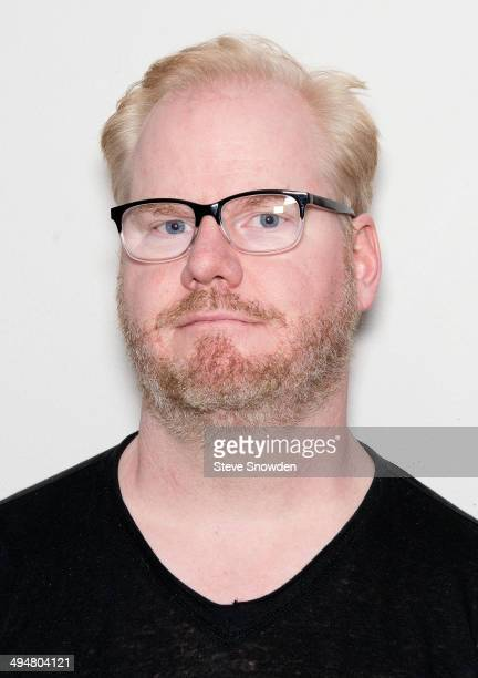 Comedian and actor Jim Gaffigan poses backstage following his soldout performance at Route 66 Casino Legends Theater on May 30 2014 in Albuquerque...