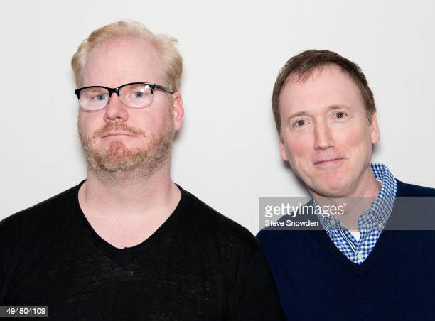 Comedian and actor Jim Gaffigan poses backstage with comedian Tom Shillue at Route 66 Casino Legends Theater on May 30 2014 in Albuquerque New Mexico