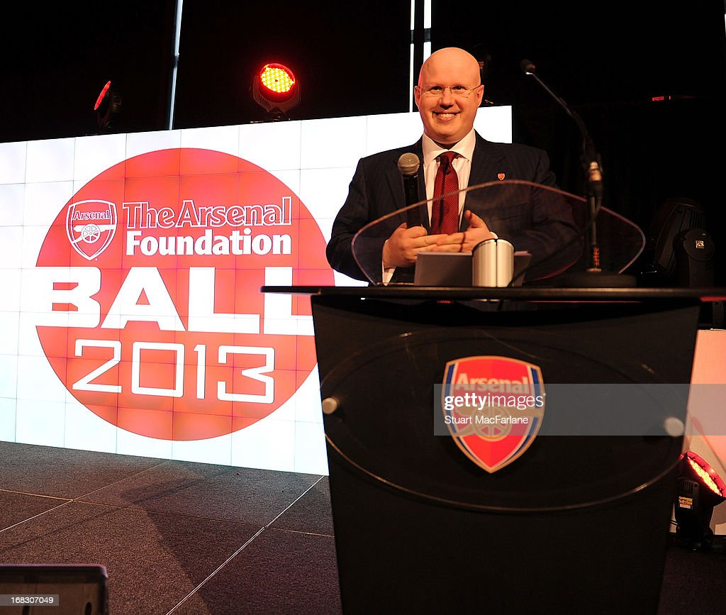 Comedian and Arsenal fan <a gi-track='captionPersonalityLinkClicked' href=/galleries/search?phrase=Matt+Lucas+-+Comedian&family=editorial&specificpeople=204202 ng-click='$event.stopPropagation()'>Matt Lucas</a> at the Arsenal Foundation Ball at Emirates Stadium on May 8, 2013 in London, England. www.arsenal.com/thearsenalfoundation @AFC_Foundation.