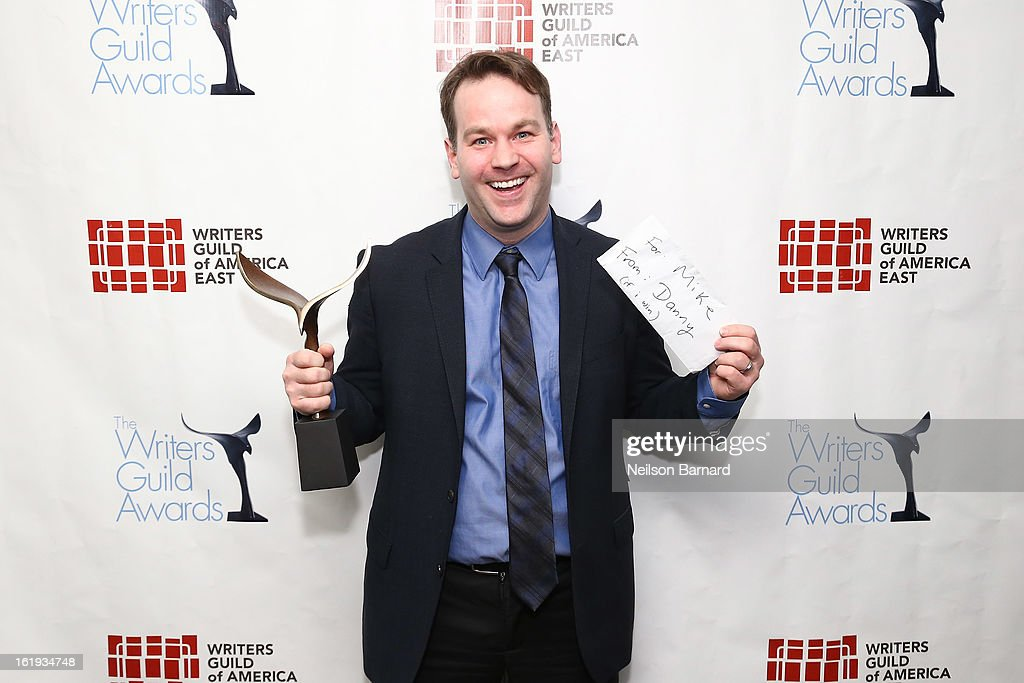 Comedian and filmmaker <a gi-track='captionPersonalityLinkClicked' href=/galleries/search?phrase=Mike+Birbiglia&family=editorial&specificpeople=4111852 ng-click='$event.stopPropagation()'>Mike Birbiglia</a> poses backstage at the 65th annual Writers Guild East Coast Awards at B.B. King Blues Club & Grill on February 17, 2013 in New York City.