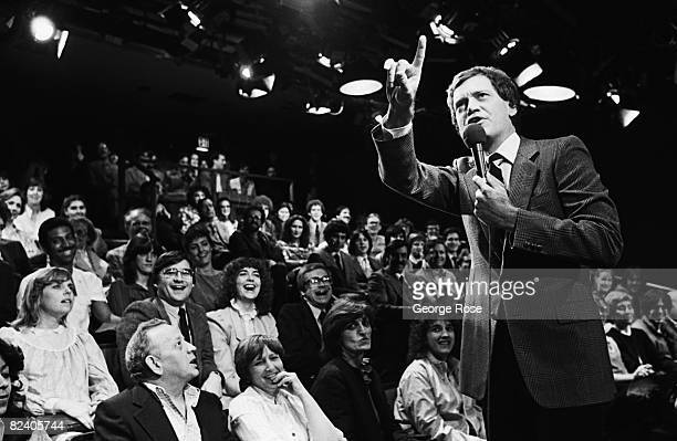Comedian and late night television host David Letterman warms up his NBC studio audience prior to the taping of his popular 1982 New York NY...