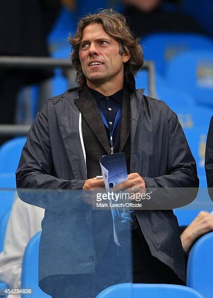 Comedian and Liverpool fan John Bishop looks on during the Barclays Premier League match between Manchester City and Liverpool at the Etihad Stadium...