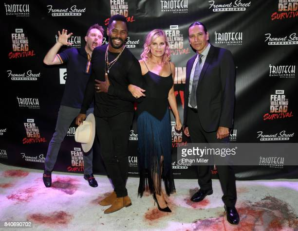 Comedian and Nerdist Founder and CEO Chris Hardwick photobombs cast members from the 'Fear the Walking Dead' television series Colman Domingo Kim...