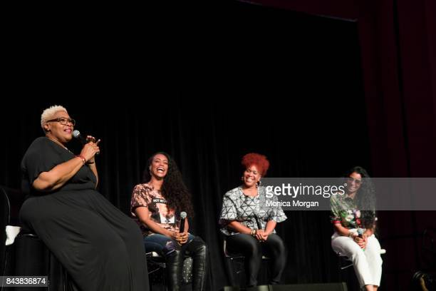 Comedian and Radio Personality Coco TV Personalities Tami Roman Tina Campbell and Karlie Redd on stage during the 2017 Women's Empowerment Expo at...