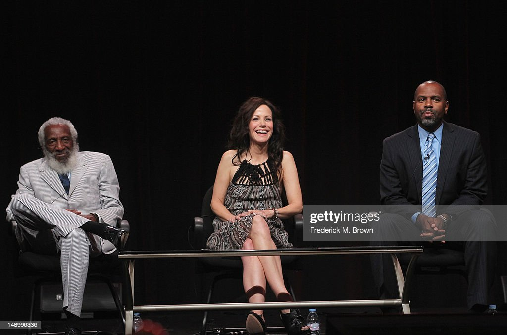 Comedian and Social Activist Dick Gregory, host Mary-Louise Parker and filmmaker Byron Hurt speak onstage at the Independent Lens 'Soul Food Junkies' panel during day 1 of the PBS portion of the 2012 Summer TCA Tour held at the Beverly Hilton Hotel on July 21, 2012 in Beverly Hills, California.