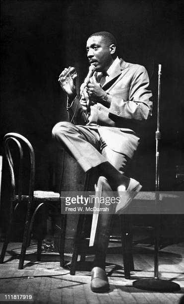 Comedian and social activist Dick Gregory speaks at the Village Gate New York New York May 22 1966