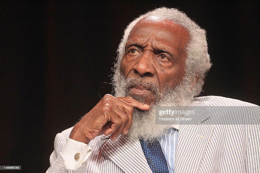 Comedian and Social Activist Dick Gregory speaks onstage at the Independent Lens 'Soul Food Junkies' panel during day 1 of the PBS portion of the 2012 Summer TCA Tour held at the Beverly Hilton Hotel on July 21, 2012 in Beverly Hills, California.