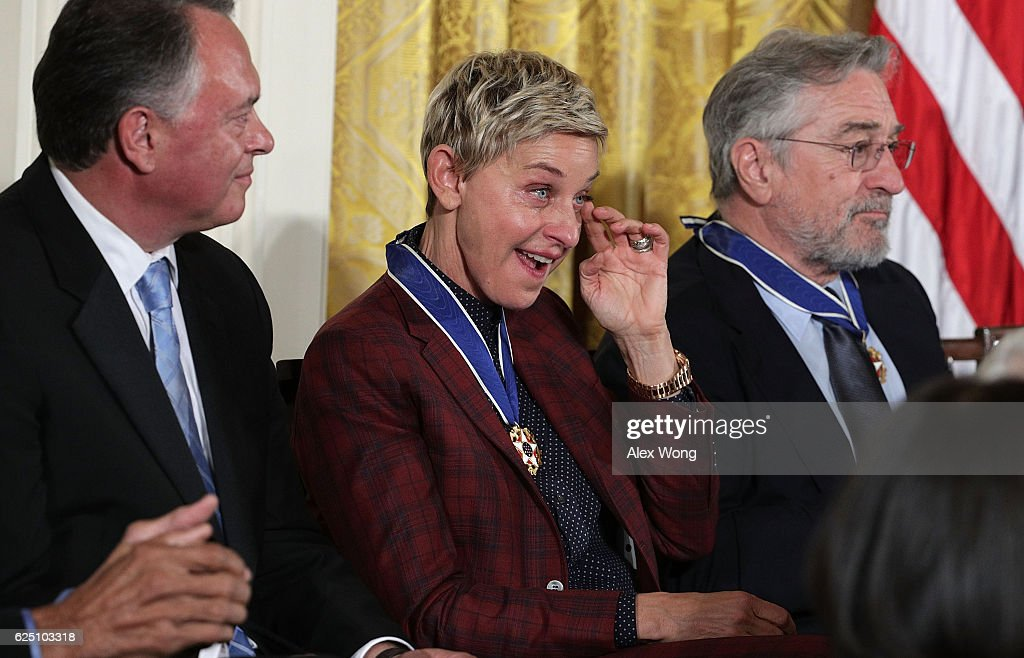 Comedian and talk show host Ellen DeGeneres wipes tears during a Presidential Medal of Freedom presentation ceremony at the White House November 22, 2016 in Washington, DC. The Presidential Medal of Freedom is the highest honor for civilians in the United States of America.
