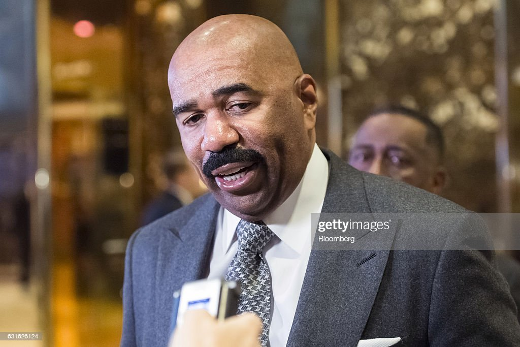 Comedian and television host Steve Harvey speaks to members of the media in the lobby of Trump Tower in New York, U.S., on Friday, Jan. 13, 2017. Trump said his administration would produce a full report on hacking within the first 90 days of his presidency and accused 'my political opponents and a failed spy' of making 'phony allegations' against him. Photographer: Albin Lohr-Jones/Pool via Bloomberg