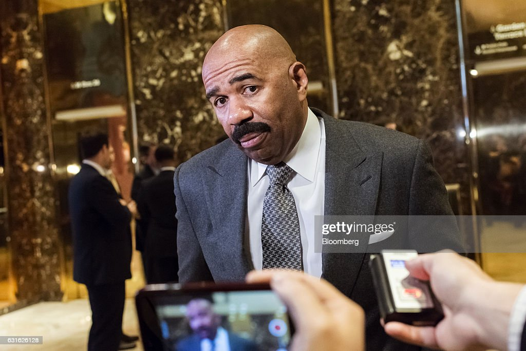 Comedian and television host Steve Harvey speaks to members of the media in the lobby of Trump Tower in New York, U.S., on Friday, Jan. 13, 2017. President-elect Donald Trump said his administration would produce a full report on hacking within the first 90 days of his presidency and accused 'my political opponents and a failed spy' of making 'phony allegations' against him. Photographer: Albin Lohr-Jones/Pool via Bloomberg