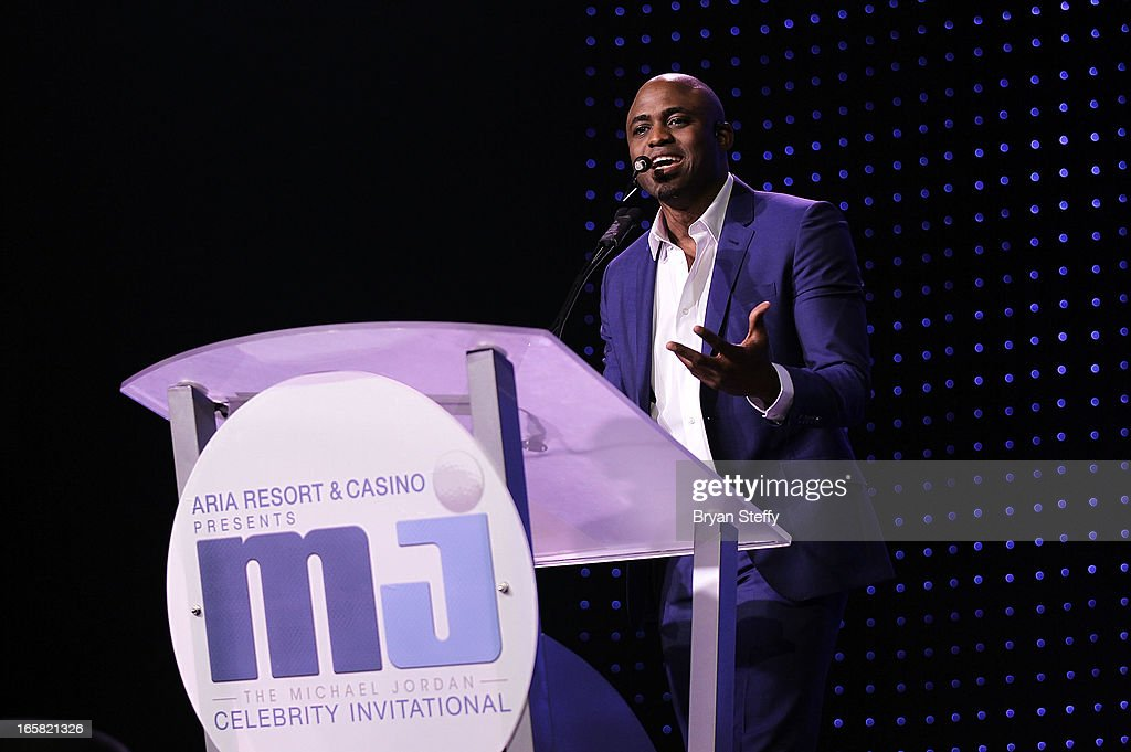 Comedian and television personality <a gi-track='captionPersonalityLinkClicked' href=/galleries/search?phrase=Wayne+Brady+-+Actor&family=editorial&specificpeople=217495 ng-click='$event.stopPropagation()'>Wayne Brady</a> speaks onstage at the 12th Annual Michael Jordan Celebrity Invitational Gala At ARIA Resort & Casino on April 5, 2013 in Las Vegas, Nevada.