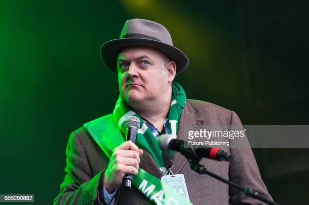 Comedian and TV presenter Dara O'Briain takes part in the annual St Patricks Day celebration at Trafalgar Square on March 19 2017 in London United...