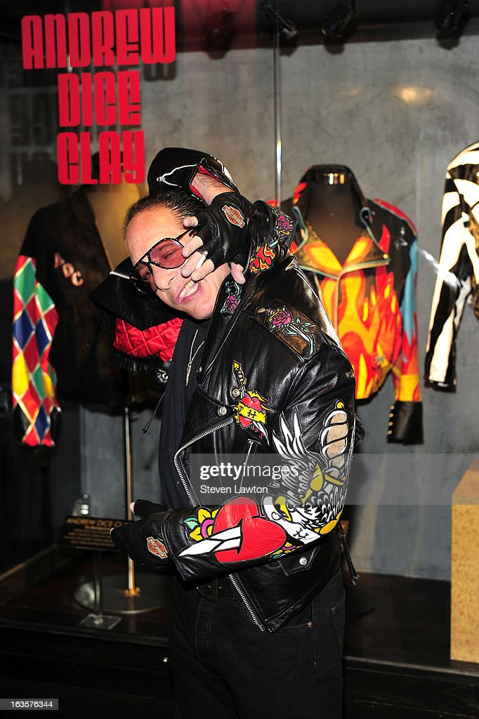 Comedian <a gi-track='captionPersonalityLinkClicked' href=/galleries/search?phrase=Andrew+Dice+Clay&family=editorial&specificpeople=678985 ng-click='$event.stopPropagation()'>Andrew Dice Clay</a> appears at a memorabilia case dedication at the Hard Rock Hotel & Casino on March 12, 2013 in Las Vegas, Nevada.