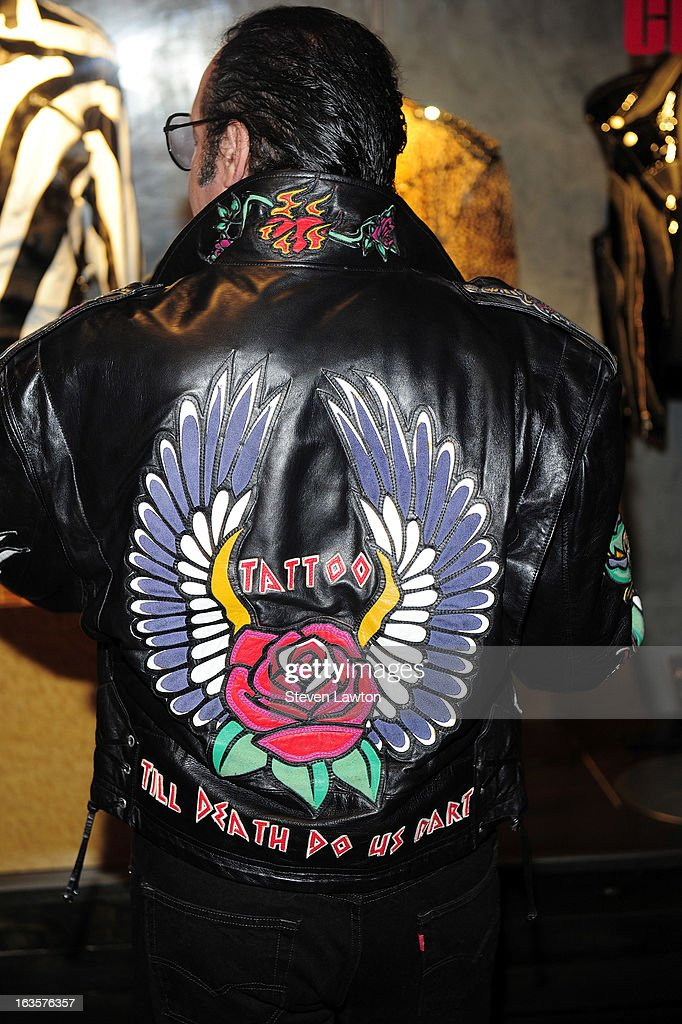 Comedian <a gi-track='captionPersonalityLinkClicked' href=/galleries/search?phrase=Andrew+Dice+Clay&family=editorial&specificpeople=678985 ng-click='$event.stopPropagation()'>Andrew Dice Clay</a> (jacket detail) appears at a memorabilia case dedication at the Hard Rock Hotel & Casino on March 12, 2013 in Las Vegas, Nevada.