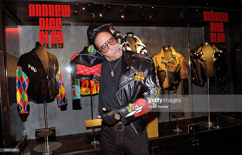 Comedian <a gi-track='captionPersonalityLinkClicked' href=/galleries/search?phrase=Andrew+Dice+Clay&family=editorial&specificpeople=678985 ng-click='$event.stopPropagation()'>Andrew Dice Clay</a> appears during a memorabilia case dedication ceremony in honor of his upcoming residency at Vinyl at the Hard Rock Hotel & Casino on March 12, 2013 in Las Vegas, Nevada.