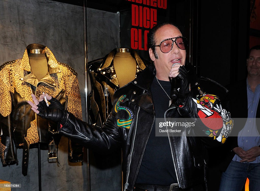 Comedian Andrew Dice Clay speaks during a memorabilia case dedication ceremony in honor of his upcoming residency at Vinyl at the Hard Rock Hotel & Casino on March 12, 2013 in Las Vegas, Nevada.
