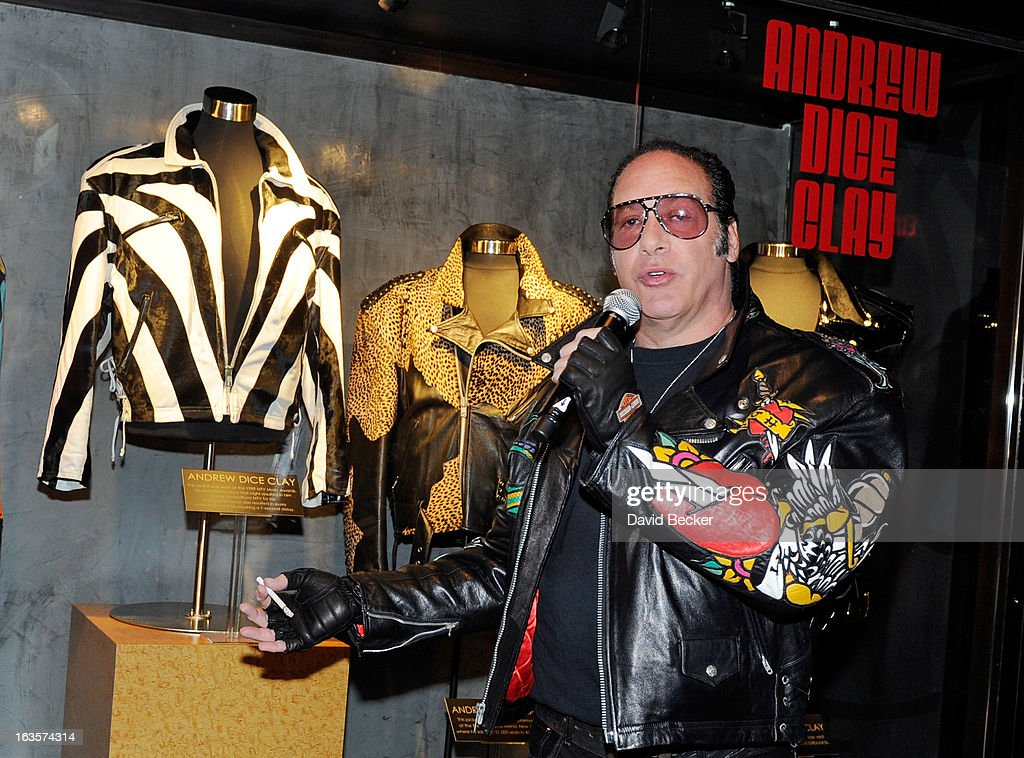 Comedian <a gi-track='captionPersonalityLinkClicked' href=/galleries/search?phrase=Andrew+Dice+Clay&family=editorial&specificpeople=678985 ng-click='$event.stopPropagation()'>Andrew Dice Clay</a> speaks during a memorabilia case dedication ceremony in honor of his upcoming residency at Vinyl at the Hard Rock Hotel & Casino on March 12, 2013 in Las Vegas, Nevada.