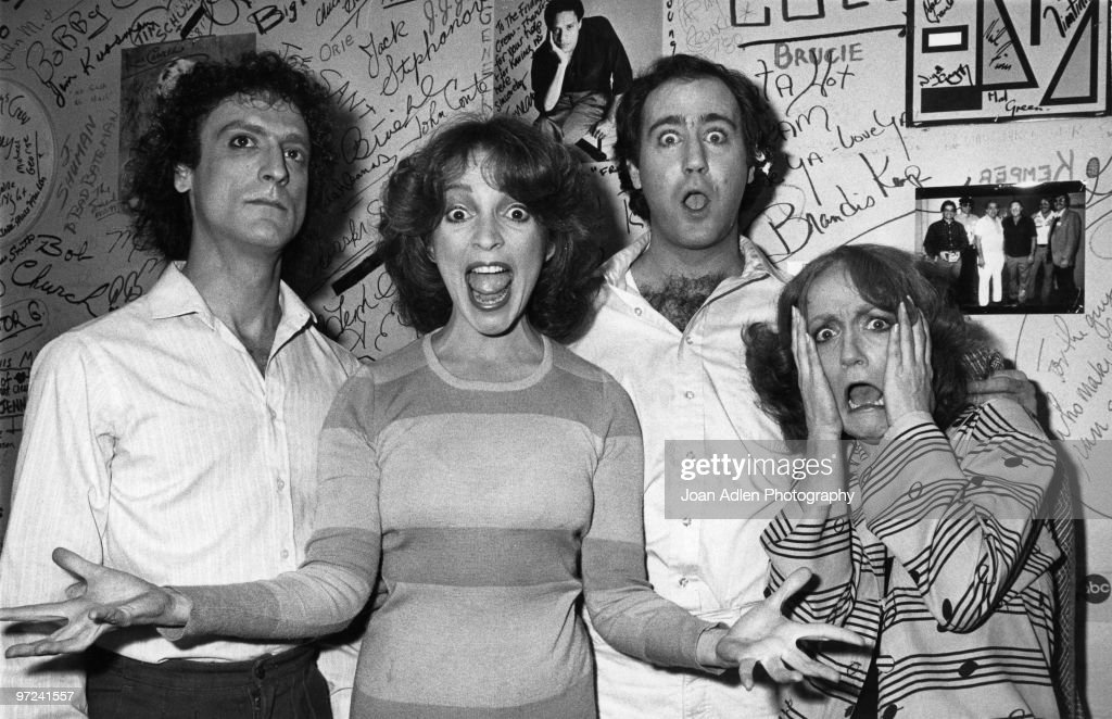 Comedian <a gi-track='captionPersonalityLinkClicked' href=/galleries/search?phrase=Andy+Kaufman&family=editorial&specificpeople=587929 ng-click='$event.stopPropagation()'>Andy Kaufman</a> joins Friday's cast members L-R Mark Blankfield, Melanie Chartoff, Kaufman and Brandis Kemp on February 20, 1981 in Los Angeles, California.