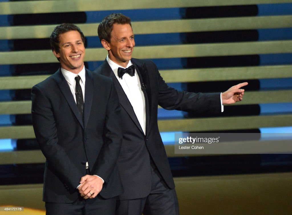 Comedian <a gi-track='captionPersonalityLinkClicked' href=/galleries/search?phrase=Andy+Samberg&family=editorial&specificpeople=595651 ng-click='$event.stopPropagation()'>Andy Samberg</a> (L) and host <a gi-track='captionPersonalityLinkClicked' href=/galleries/search?phrase=Seth+Meyers&family=editorial&specificpeople=618859 ng-click='$event.stopPropagation()'>Seth Meyers</a> appear onstage at the 66th Annual Primetime Emmy Awards held at Nokia Theatre L.A. Live on August 25, 2014 in Los Angeles, California.