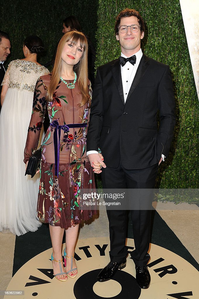 Comedian Andy Samberg and Joanna Newsom arrive at the 2013 Vanity Fair Oscar Party hosted by Graydon Carter at Sunset Tower on February 24 2013 in...