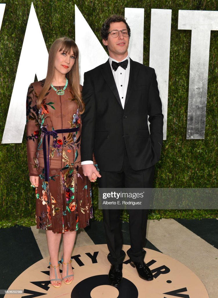 Comedian Andy Samberg and Joanna Newsom arrives at the 2013 Vanity Fair Oscar Party hosted by Graydon Carter at Sunset Tower on February 24 2013 in...