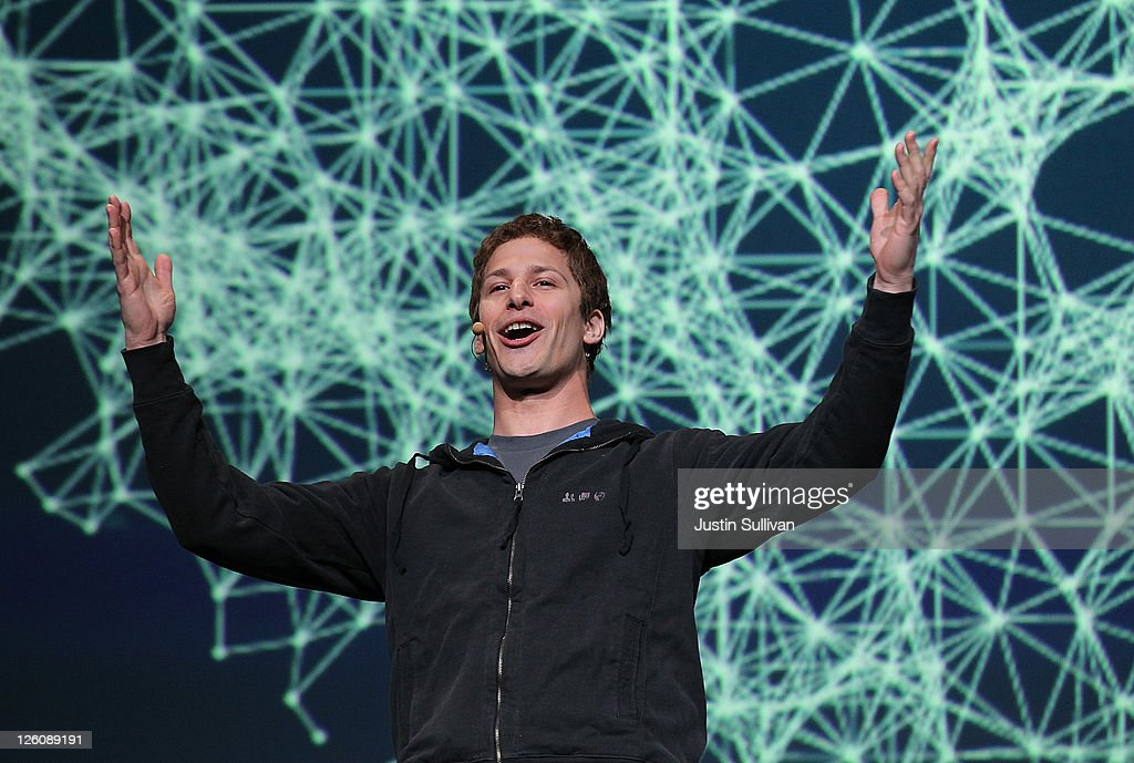 Comedian Andy Samberg pretends to be Facebook CEO Mark Zuckerberg during the Facebook f8 conference on September 22 2011 in San Francisco California...